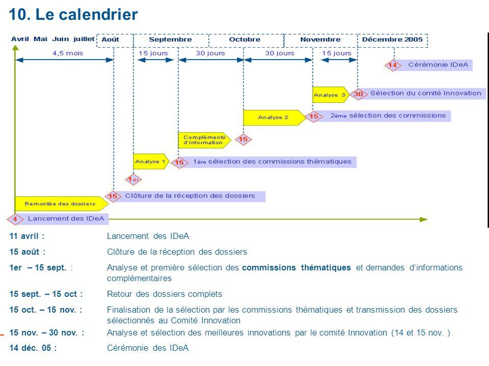 10 10. Le calendrier 11 avril : Lancement des IDeA 15 août : Clôture de la réception des dossiers 1er – 15 sept. : Analyse et première sélection des c