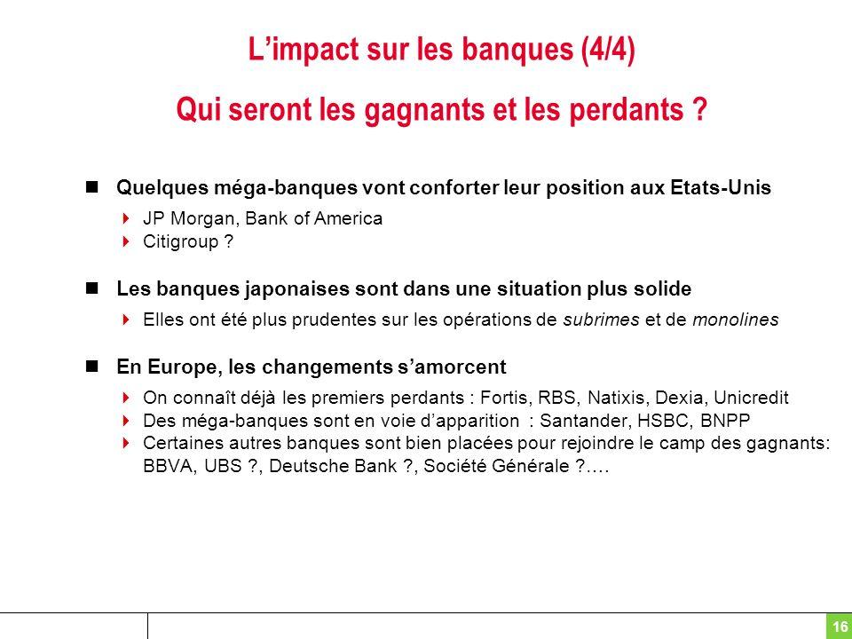 16 Limpact sur les banques (4/4) Qui seront les gagnants et les perdants ? Quelques méga-banques vont conforter leur position aux Etats-Unis JP Morgan