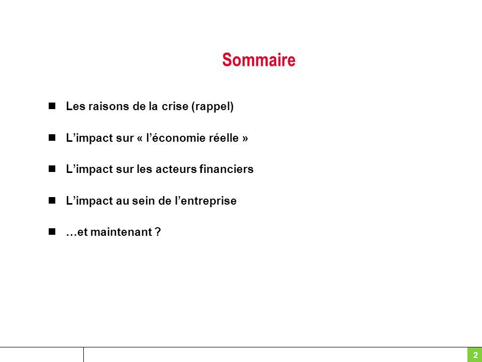 Sommaire Les raisons de la crise (rappel) Limpact sur « léconomie réelle » Limpact sur les acteurs financiers Limpact au sein de lentreprise …et maint