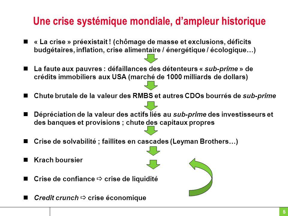 Une crise systémique mondiale, dampleur historique « La crise » préexistait ! (chômage de masse et exclusions, déficits budgétaires, inflation, crise