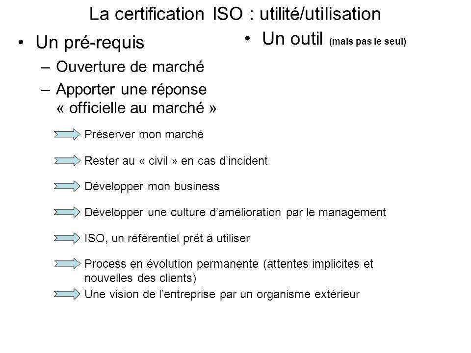 La certification ISO : utilité/utilisation Un pré-requis –Ouverture de marché –Apporter une réponse « officielle au marché » Un outil (mais pas le seu