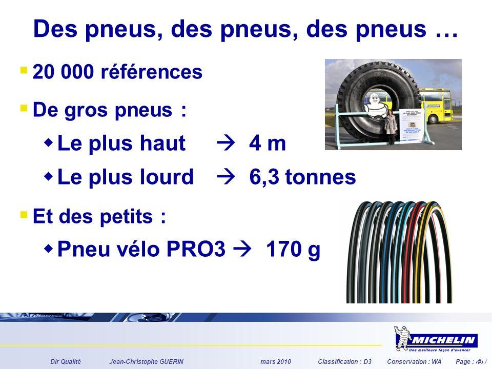 Dir QualitéJean-Christophe GUERINmars 2010Classification : D3Conservation : WAPage : # / Des pneus, des pneus, des pneus … 20 000 références De gros pneus : Le plus haut 4 m Le plus lourd 6,3 tonnes Et des petits : Pneu vélo PRO3 170 g