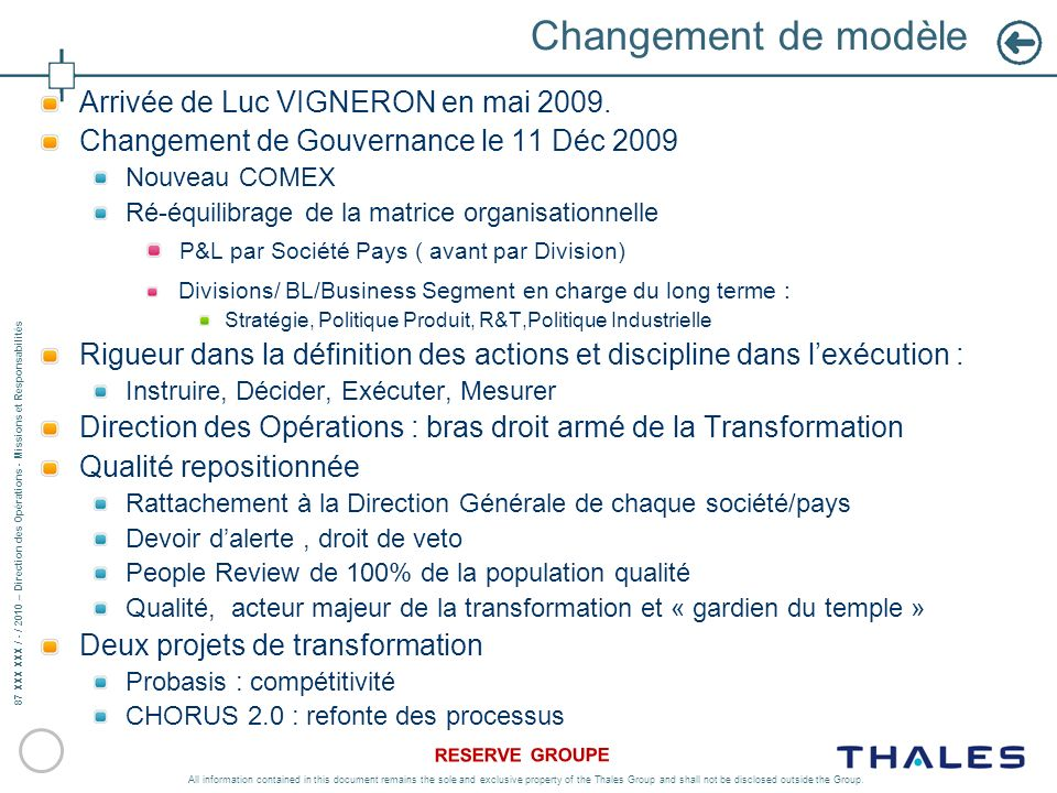 87 XXX XXX / - / 2010 – Direction des Opérations - Missions et Responsabilités RESERVE GROUPE All information contained in this document remains the s