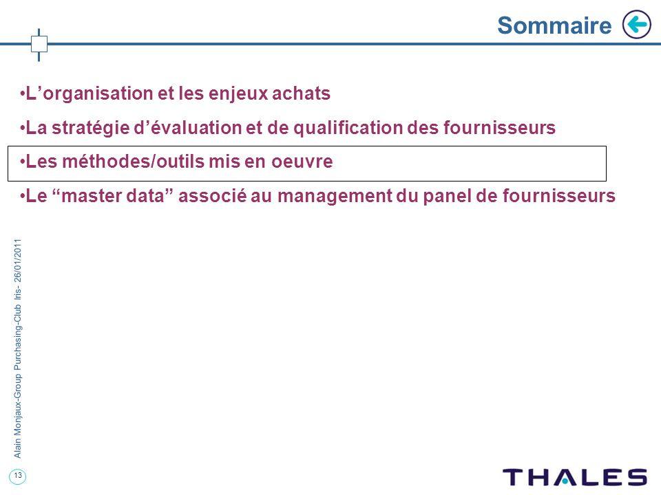 13 Alain Monjaux-Group Purchasing-Club Iris- 26/01/2011 Sommaire Lorganisation et les enjeux achats La stratégie dévaluation et de qualification des f