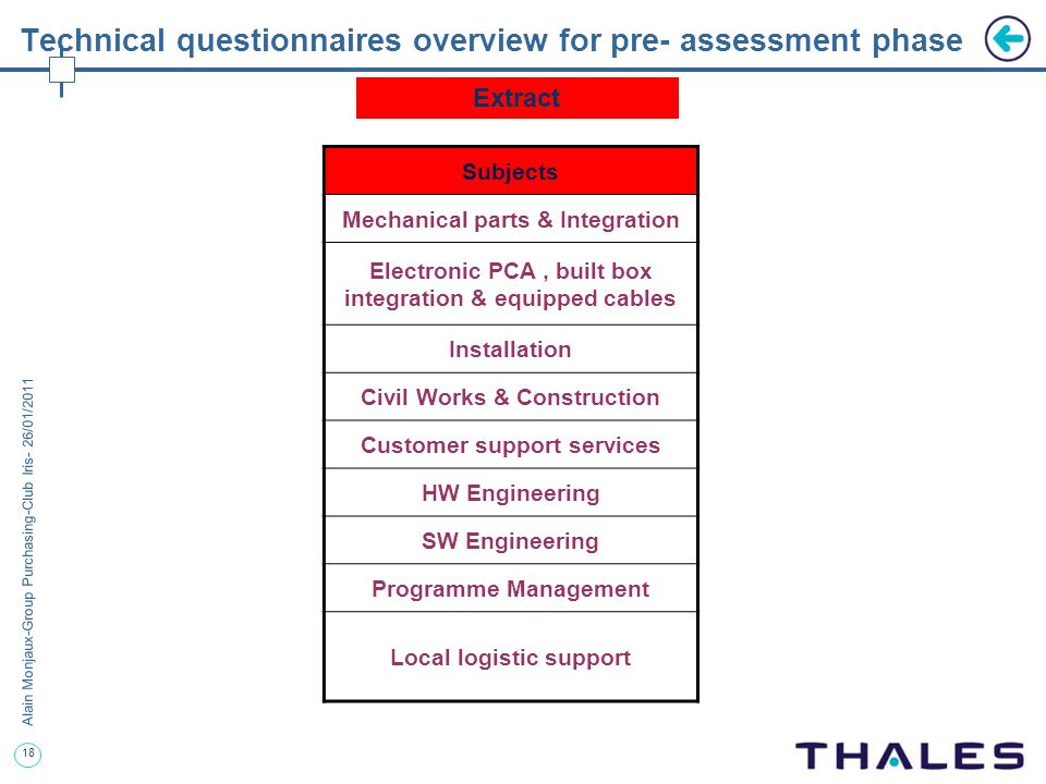 18 Alain Monjaux-Group Purchasing-Club Iris- 26/01/2011 Technical questionnaires overview for pre- assessment phase Subjects Mechanical parts & Integr