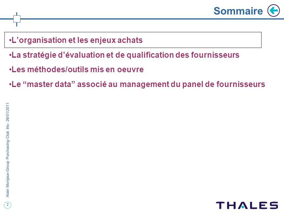 2 Alain Monjaux-Group Purchasing-Club Iris- 26/01/2011 Sommaire Lorganisation et les enjeux achats La stratégie dévaluation et de qualification des fo