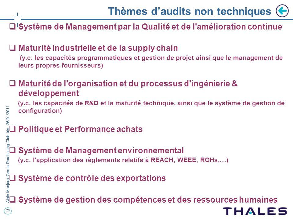 20 Alain Monjaux-Group Purchasing-Club Iris- 26/01/2011 Thèmes daudits non techniques Système de Management par la Qualité et de l'amélioration contin