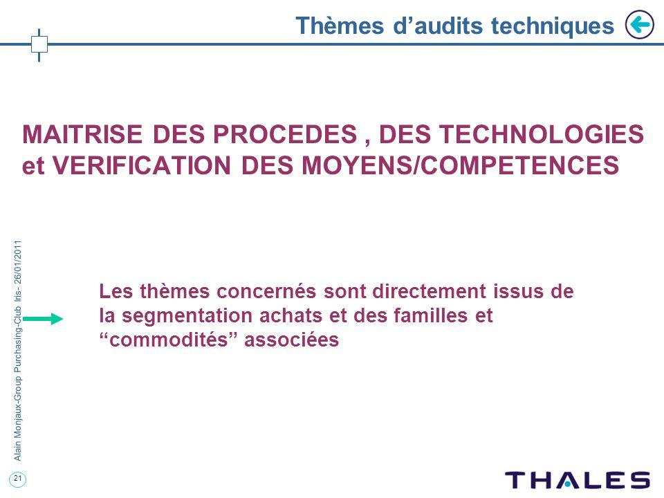 21 Alain Monjaux-Group Purchasing-Club Iris- 26/01/2011 Thèmes daudits techniques MAITRISE DES PROCEDES, DES TECHNOLOGIES et VERIFICATION DES MOYENS/C