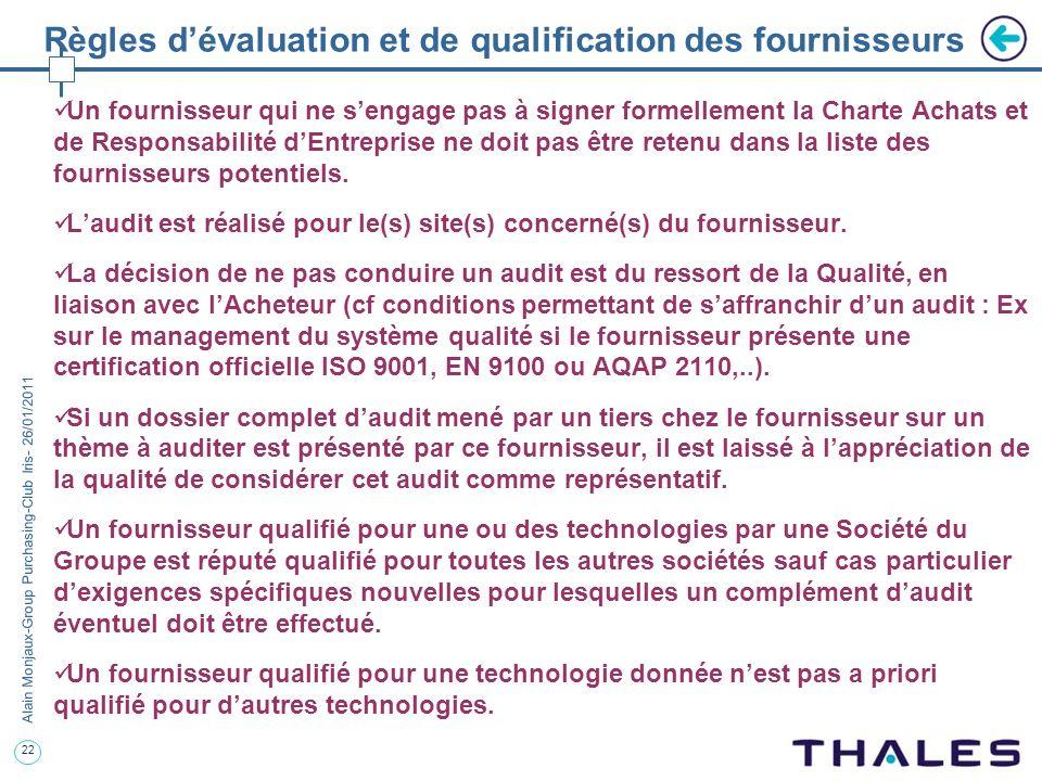 22 Alain Monjaux-Group Purchasing-Club Iris- 26/01/2011 Règles dévaluation et de qualification des fournisseurs Un fournisseur qui ne sengage pas à si