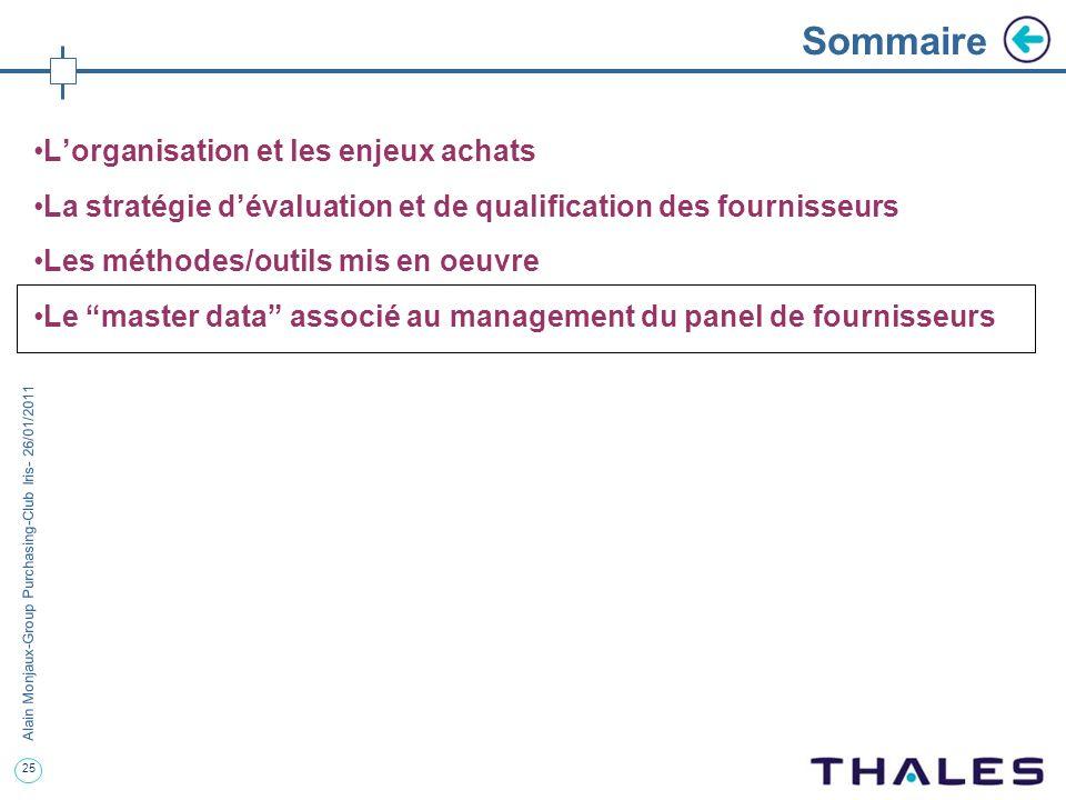 25 Alain Monjaux-Group Purchasing-Club Iris- 26/01/2011 Sommaire Lorganisation et les enjeux achats La stratégie dévaluation et de qualification des f