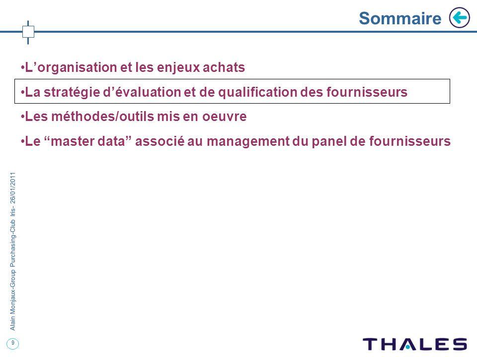9 Alain Monjaux-Group Purchasing-Club Iris- 26/01/2011 Sommaire Lorganisation et les enjeux achats La stratégie dévaluation et de qualification des fo