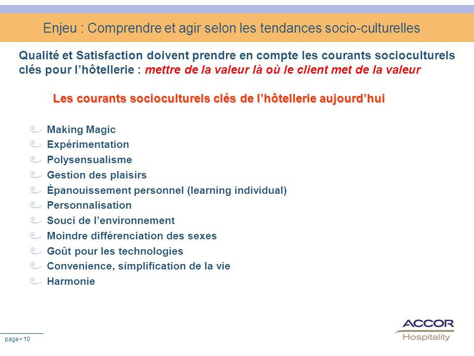 page 10 Enjeu : Comprendre et agir selon les tendances socio-culturelles Qualité et Satisfaction doivent prendre en compte les courants socioculturels