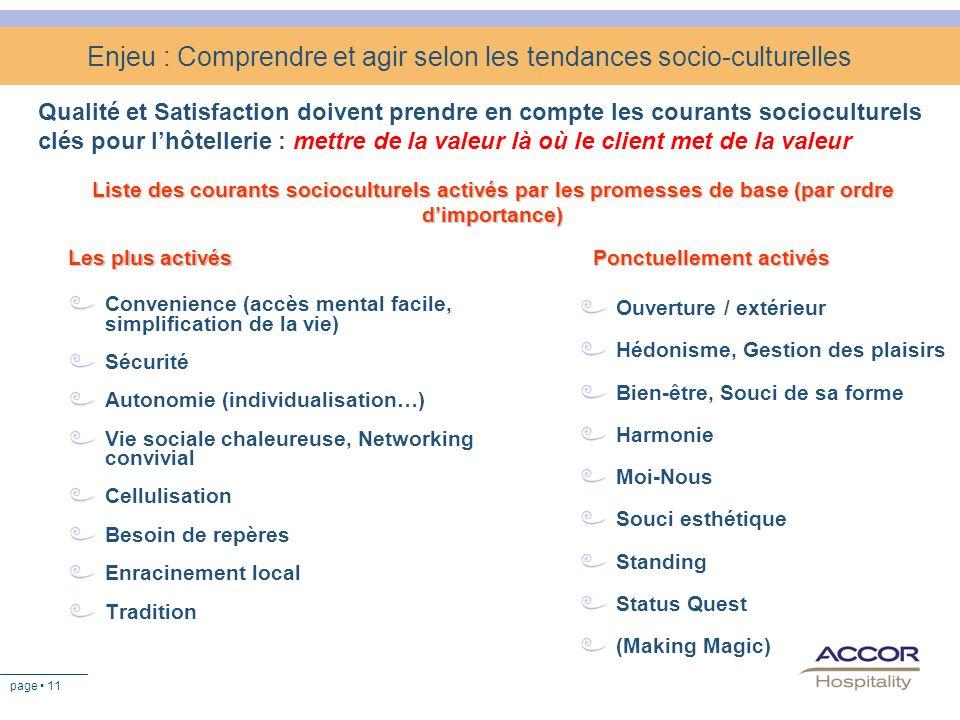page 11 Enjeu : Comprendre et agir selon les tendances socio-culturelles Qualité et Satisfaction doivent prendre en compte les courants socioculturels