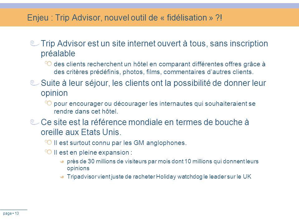 page 13 Enjeu : Trip Advisor, nouvel outil de « fidélisation » ?! Trip Advisor est un site internet ouvert à tous, sans inscription préalable des clie