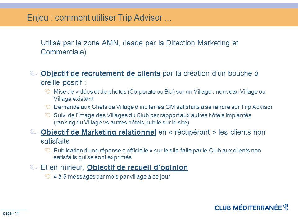 page 14 Enjeu : comment utiliser Trip Advisor … Utilisé par la zone AMN, (leadé par la Direction Marketing et Commerciale) Objectif de recrutement de