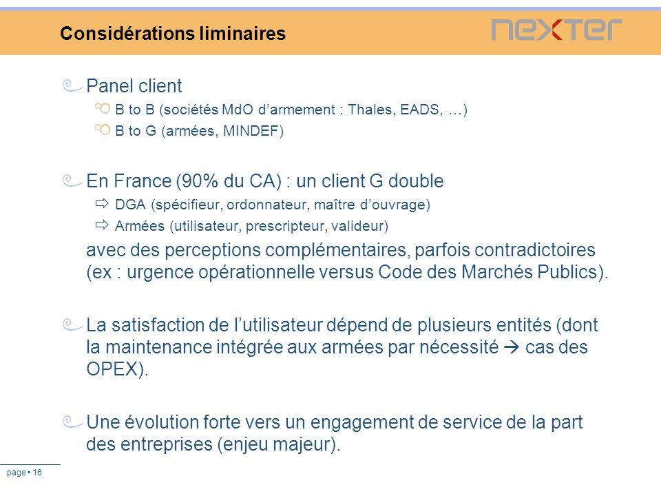 page 16 Considérations liminaires Panel client B to B (sociétés MdO darmement : Thales, EADS, …) B to G (armées, MINDEF) En France (90% du CA) : un cl