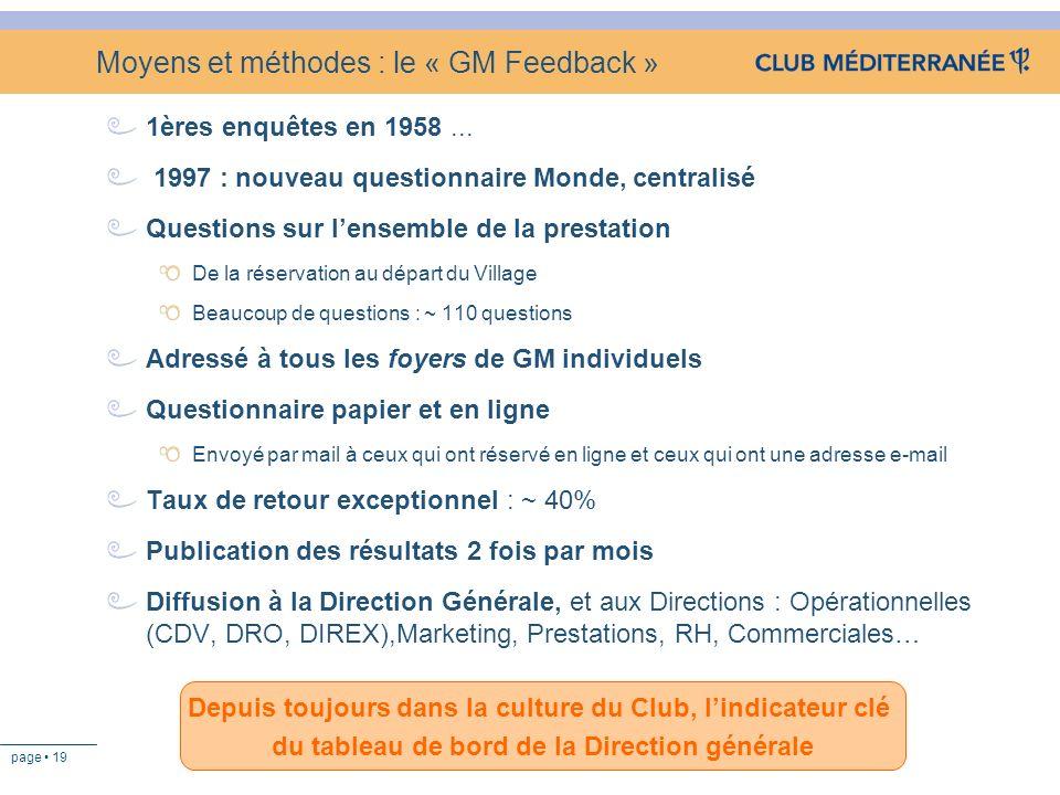 page 19 Moyens et méthodes : le « GM Feedback » 1ères enquêtes en 1958... 1997 : nouveau questionnaire Monde, centralisé Questions sur lensemble de la