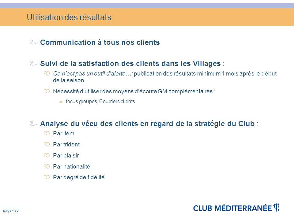 page 20 Utilisation des résultats Communication à tous nos clients Suivi de la satisfaction des clients dans les Villages : Ce nest pas un outil daler
