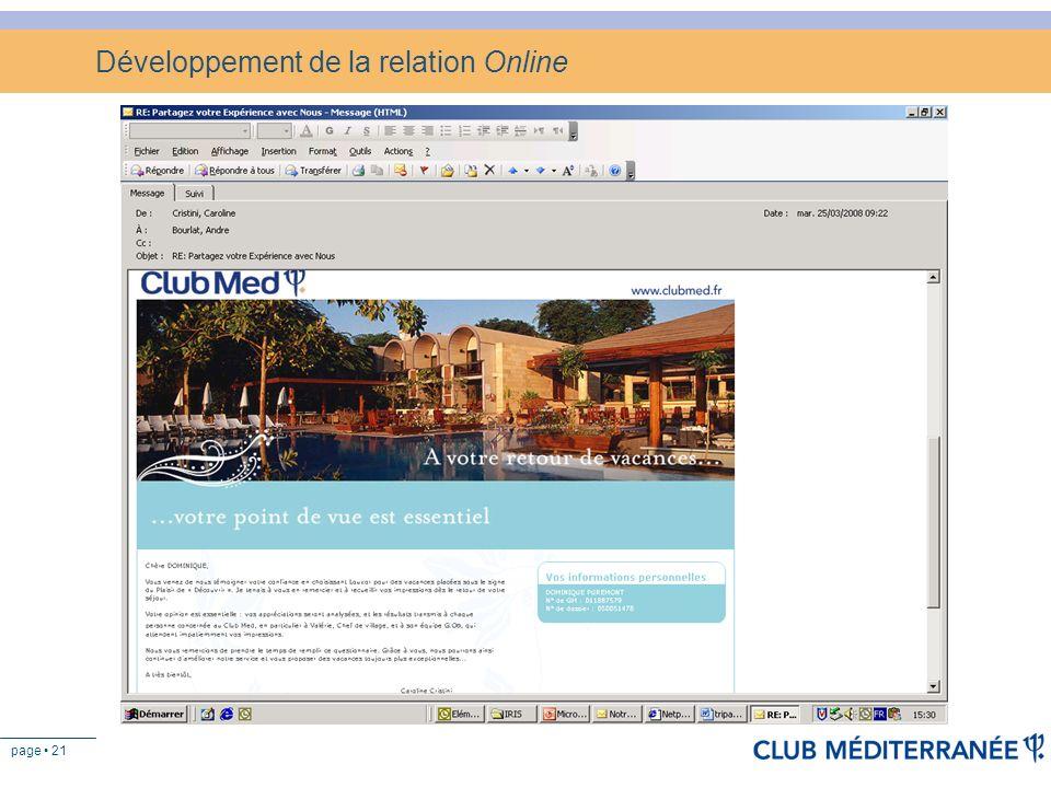 page 21 Développement de la relation Online