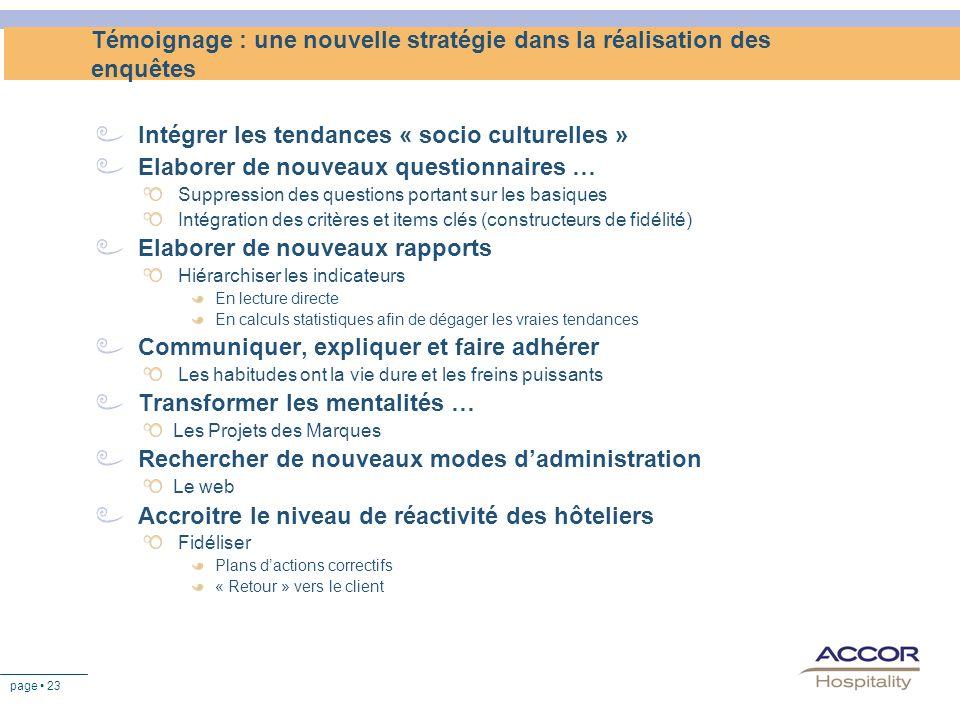 page 23 Témoignage : une nouvelle stratégie dans la réalisation des enquêtes Intégrer les tendances « socio culturelles » Elaborer de nouveaux questio