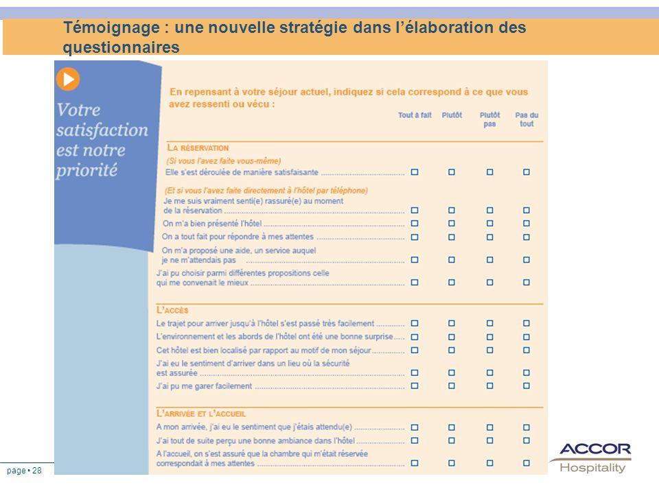 page 28 Témoignage : une nouvelle stratégie dans lélaboration des questionnaires