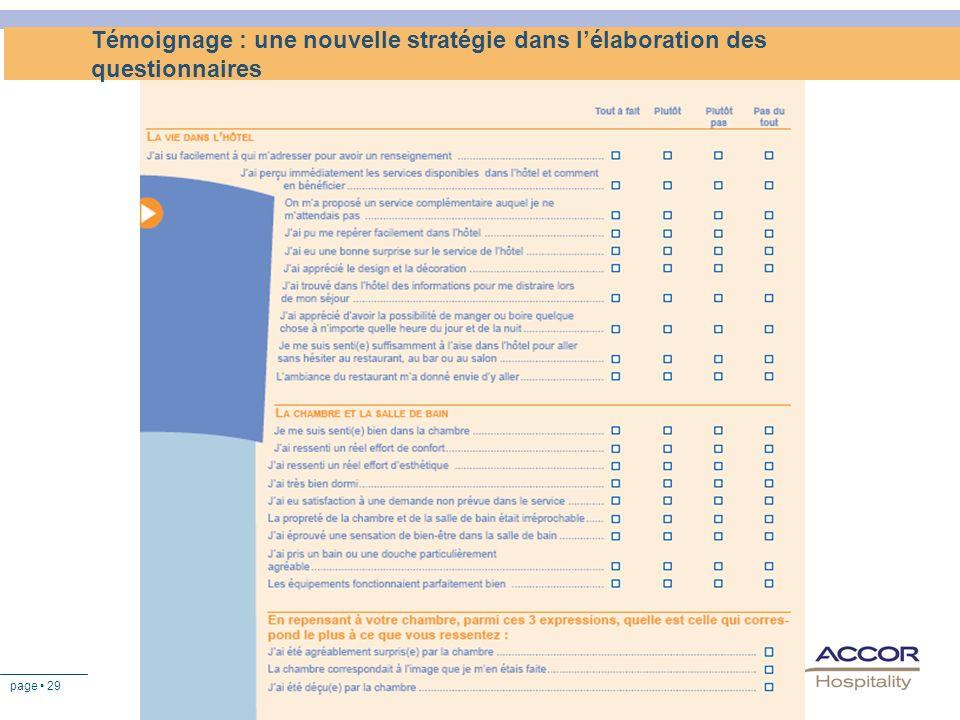 page 29 Témoignage : une nouvelle stratégie dans lélaboration des questionnaires
