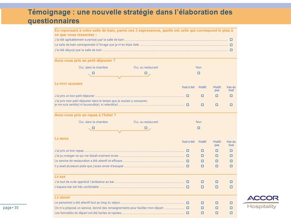 page 30 Témoignage : une nouvelle stratégie dans lélaboration des questionnaires