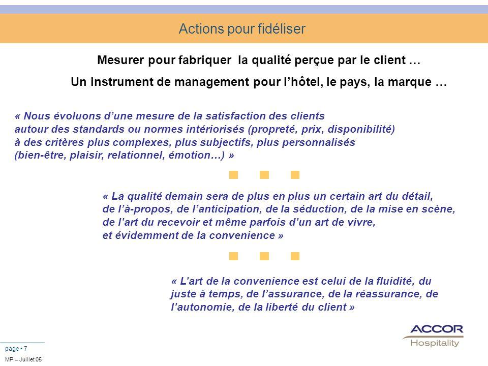 page 7 Actions pour fidéliser Mesurer pour fabriquer la qualité perçue par le client … Un instrument de management pour lhôtel, le pays, la marque … «