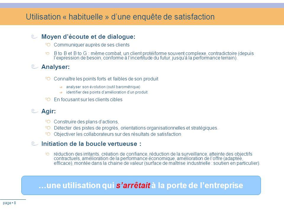 page 8 Utilisation « habituelle » dune enquête de satisfaction Moyen découte et de dialogue: Communiquer auprès de ses clients B to B et B to G : même