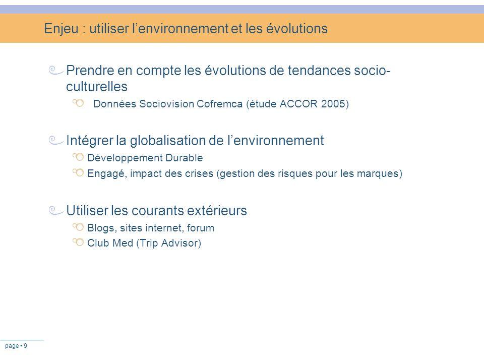 page 9 Enjeu : utiliser lenvironnement et les évolutions Prendre en compte les évolutions de tendances socio- culturelles Données Sociovision Cofremca
