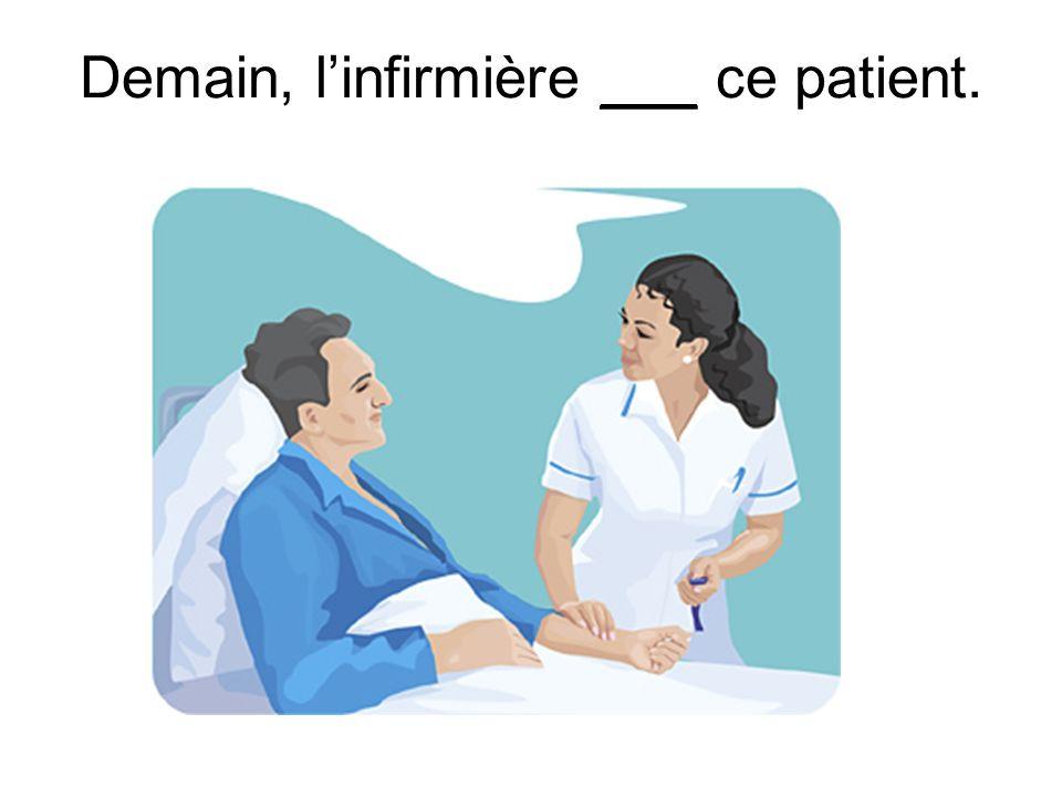 Demain, linfirmière ___ ce patient.