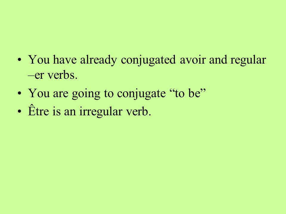 You have already conjugated avoir and regular –er verbs.
