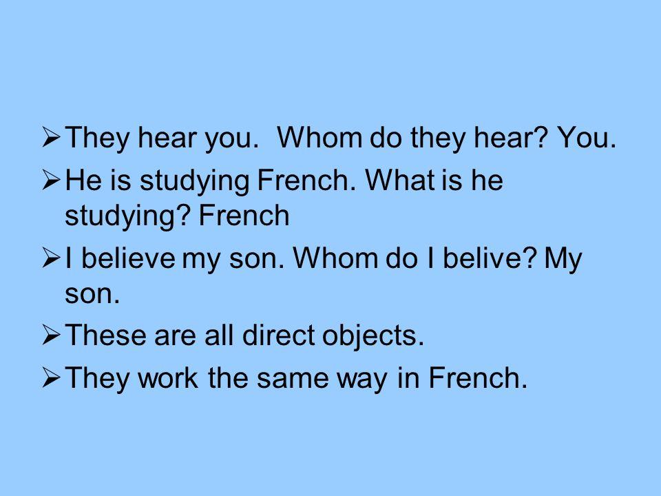 French direct objects Me me You te Usnous You allvous Him / it le Her / it la Them les