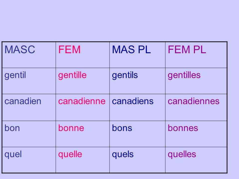 MASCFEMMAS PLFEM PL gentilgentillegentilsgentilles canadiencanadiennecanadienscanadiennes bonbonnebonsbonnes quelquellequelsquelles