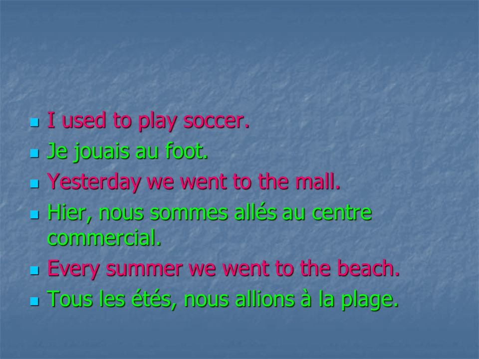 Iused to play soccer. Je Je jouais au foot. Yesterday Yesterday we went to the mall.