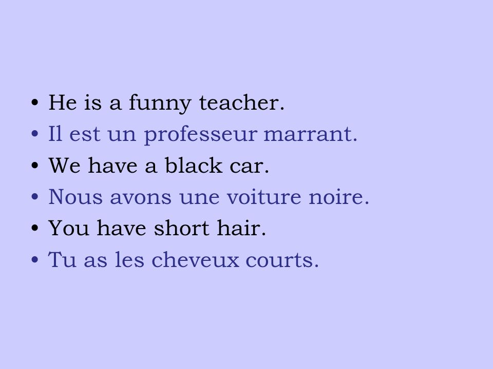 He is a funny teacher. Il est un professeur marrant.