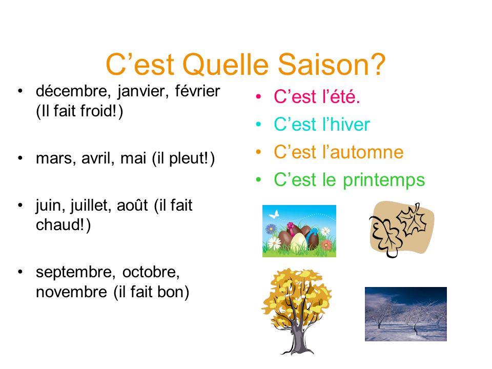 Cest Quelle Saison? décembre, janvier, février (Il fait froid!) mars, avril, mai (il pleut!) juin, juillet, août (il fait chaud!) septembre, octobre,