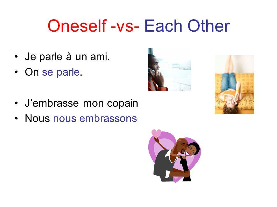 Oneself -vs- Each Other Je parle à un ami. On se parle. Jembrasse mon copain Nous nous embrassons
