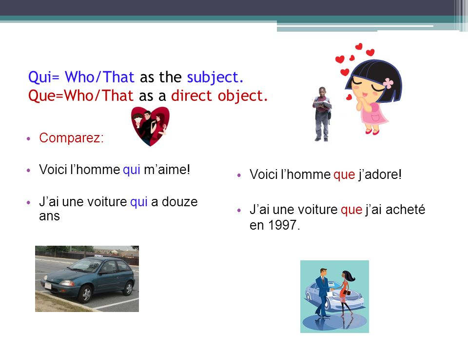 Qui= Who/That as the subject. Que=Who/That as a direct object. Comparez: Voici lhomme qui maime! Jai une voiture qui a douze ans Voici lhomme que jado