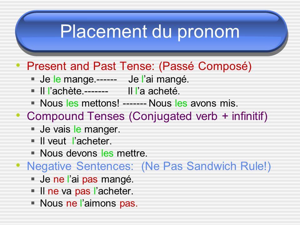 Placement du pronom Present and Past Tense: (Passé Composé) Je le mange.------ Je lai mangé.