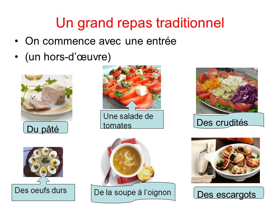 Un grand repas traditionnel On commence avec une entrée (un hors-dœuvre) Du pâté Une salade de tomates Des crudités Des oeufs durs De la soupe à loignon Des escargots
