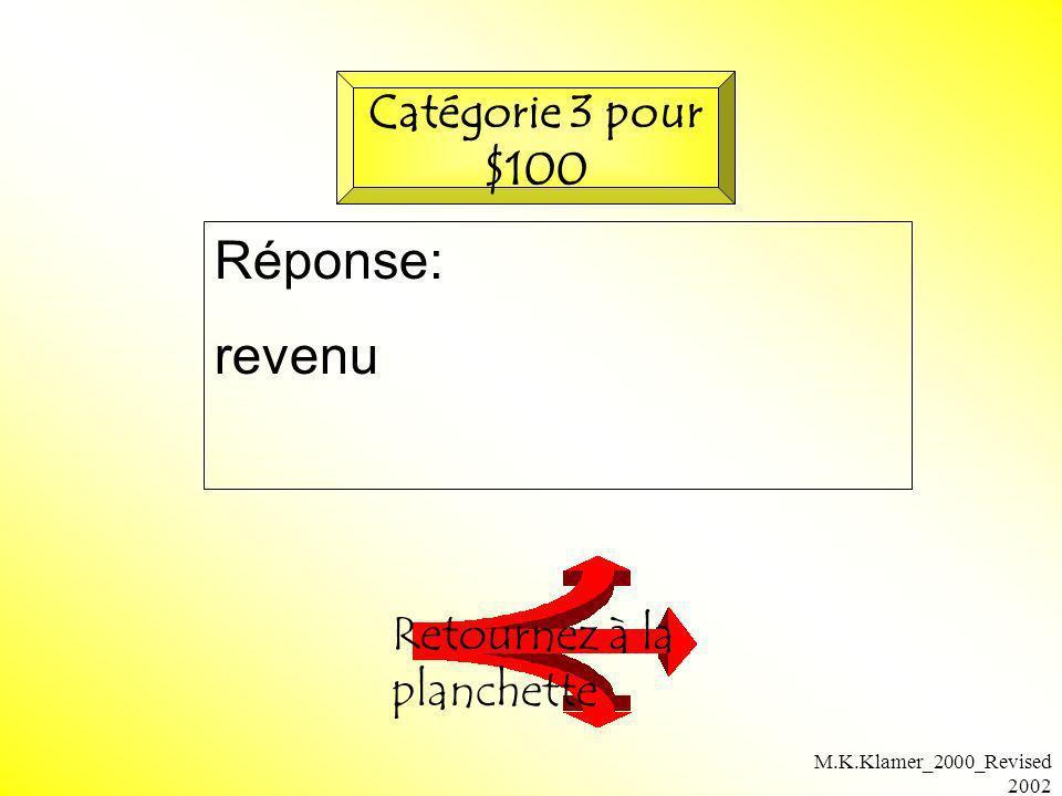 M.K.Klamer_2000_Revised 2002 Réponse: revenu Retournez à la planchette Catégorie 3 pour $100