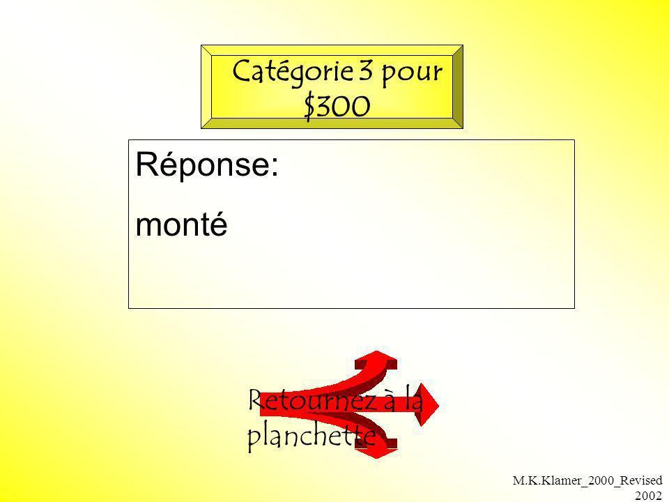 M.K.Klamer_2000_Revised 2002 Réponse: monté Retournez à la planchette Catégorie 3 pour $300