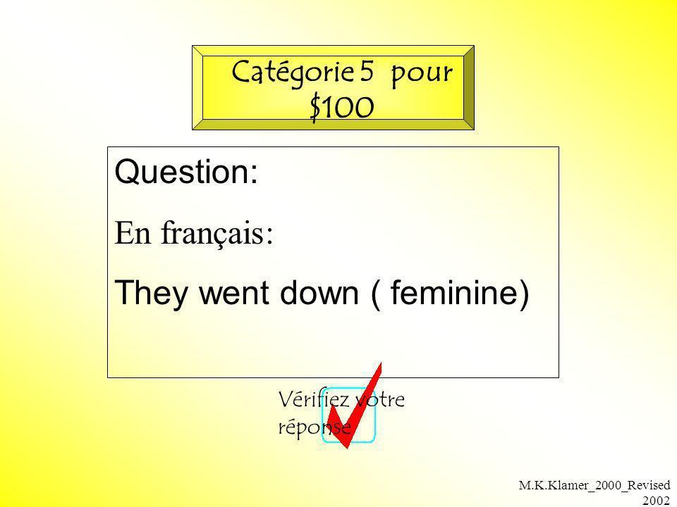M.K.Klamer_2000_Revised 2002 Question: En français: They went down ( feminine) Vérifiez votre réponse Catégorie 5 pour $100