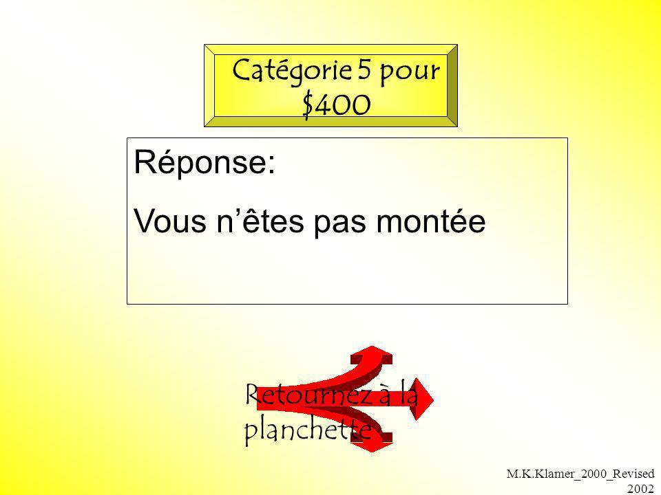M.K.Klamer_2000_Revised 2002 Réponse: Vous nêtes pas montée Retournez à la planchette Catégorie 5 pour $400