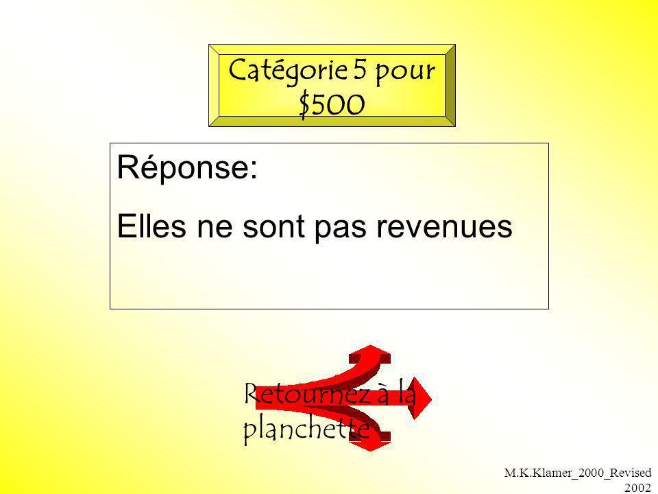 M.K.Klamer_2000_Revised 2002 Réponse: Elles ne sont pas revenues Retournez à la planchette Catégorie 5 pour $500