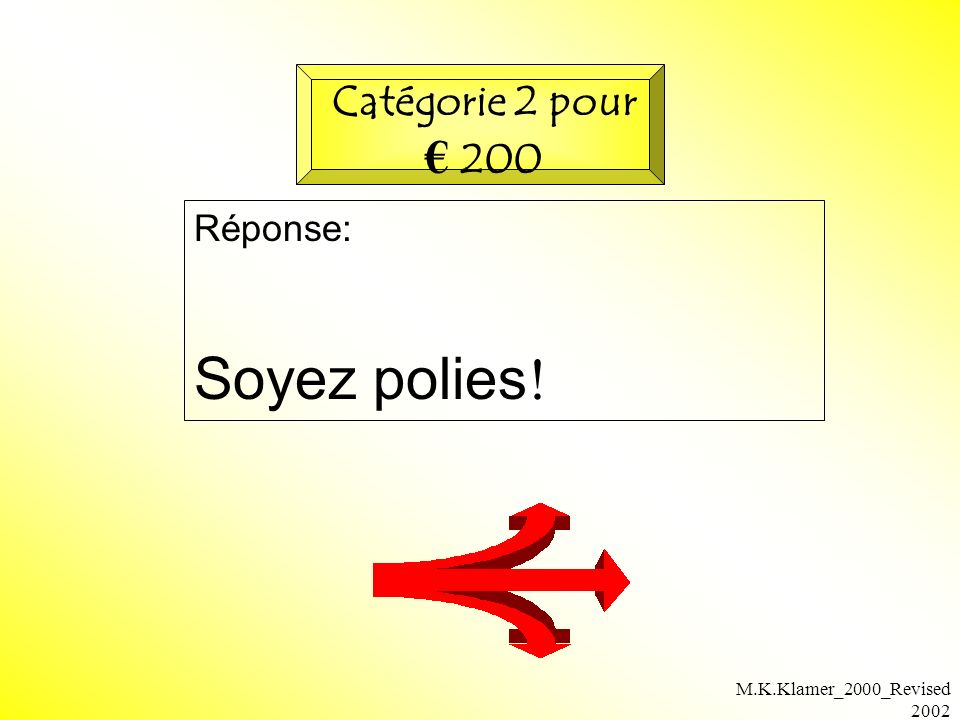 M.K.Klamer_2000_Revised 2002 Réponse: Soyez polies ! Catégorie 2 pour 200