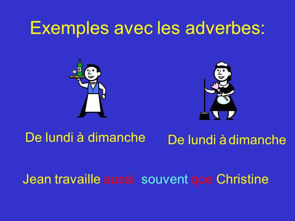 Exemples avec les adverbes: De lundi à dimanche Jean travaille aussi souvent que Christine