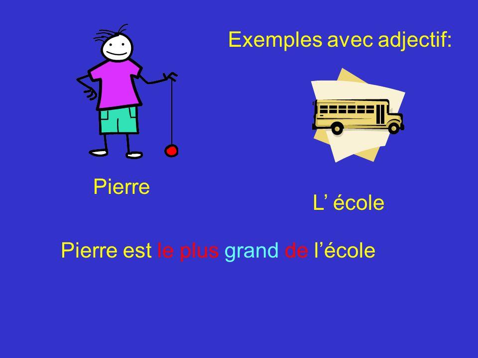 Pierre L école Pierre est le plus grand de lécole Exemples avec adjectif: