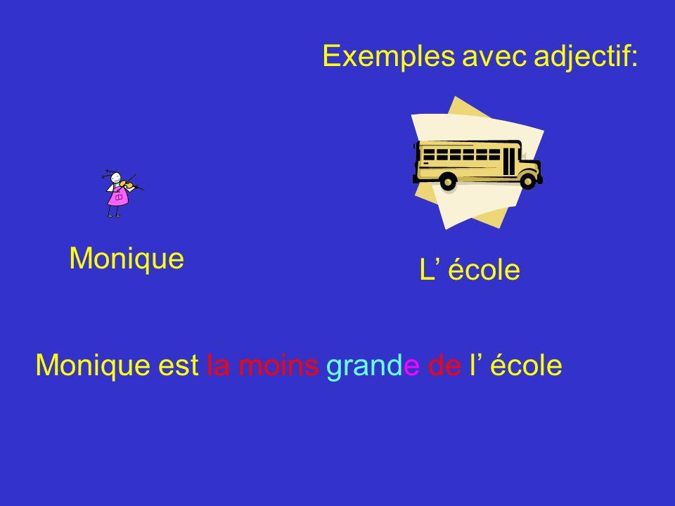 L école Monique Monique est la moins grande de l école Exemples avec adjectif: